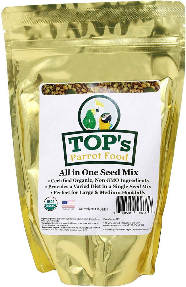 TOP's Parrot Food All in One Seed Mix - Large Birds Non-GMO/Peanut/Soy/Corn 1lb