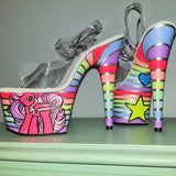 ALLOVER STRIPES My Little Pony custom UV neon rainbow striped blacklight 7 inch Pleaser platform heels