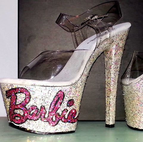 GLITTER BARBIE custom Pleaser pole dance stripper 7 inch heels