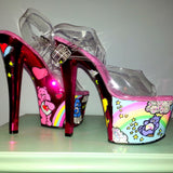 CARE BEARS custom hot pink metallic 7 inch Pleaser UV stripper pole dance heels