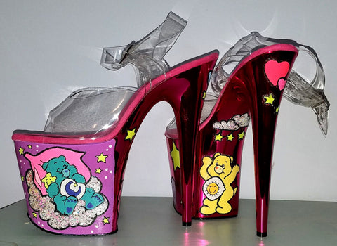 CARE BEARS custom hot pink metallic 8 inch Pleaser UV stripper pole dance heels