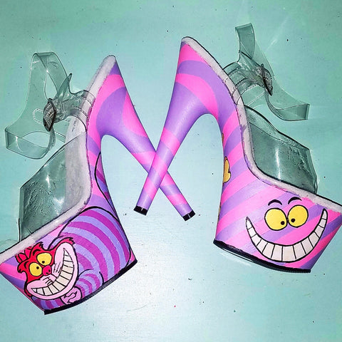 CHESHIRE CAT hot pink and purple swirly stripes UV reactive 7 inch Pleaser platform heels