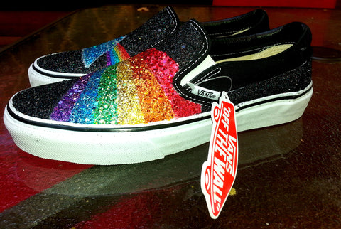 a9d604fa2e GLITTER RAINBOW Pink Floyd Dark Side of the Moon prism black VANS slip on  sneakers unisex .