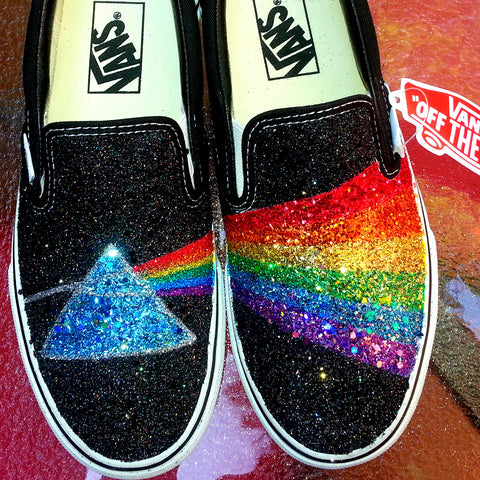 GLITTER RAINBOW Pink Floyd Dark Side of the Moon prism black VANS slip on sneakers unisex any size