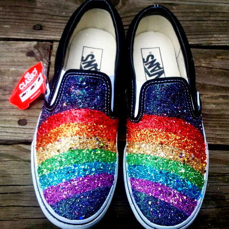 GLITTER RAINBOW black VANS slip on sneakers unisex any size