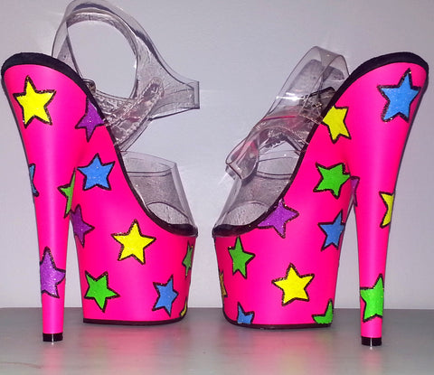 NEON STARS hot pink custom blacklight UV 7 inch Pleaser platform heels