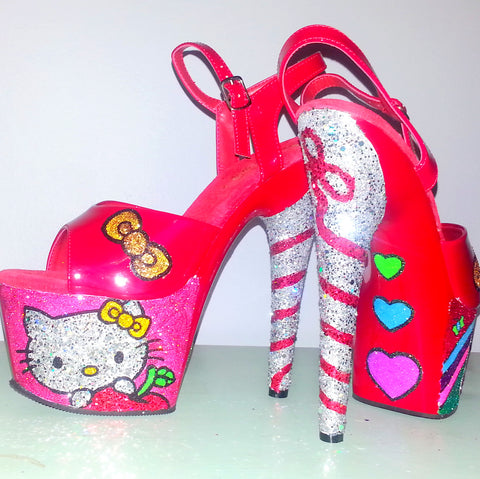 HELLO KITTY custom red glitter 7 inch Pleaser platform heels