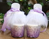BALLERINA PURPLE OMBRE custom lace up glitter 7 inch Pleaser platform heels