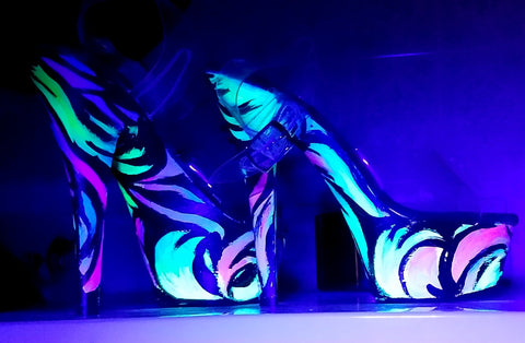 BLACKLIGHT ARTIST custom UV neon swirls blacklight 6 inch Pleaser platform heels