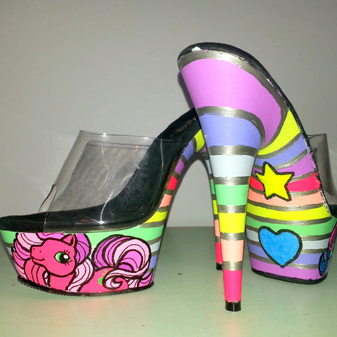 ALLOVER STRIPES My Little Pony custom UV neon rainbow striped blacklight 6 inch Pleaser platform heels