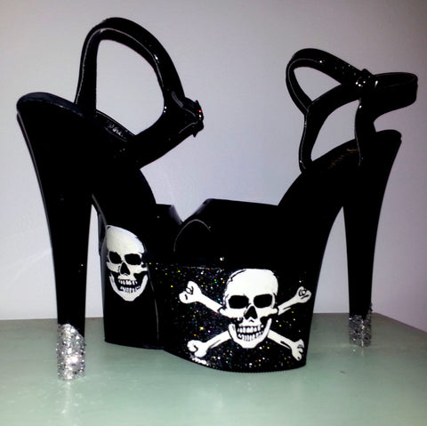 SKULL n CROSSBONES 7 inch black UV pole dance stripper Pleaser heels