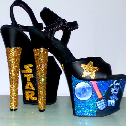 STAR WARS handpainted black & gold custom glitter 7 inch Pleaser platform heels