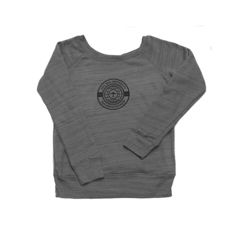 Women's Off Shoulder Sweatshirt - Gray + Black