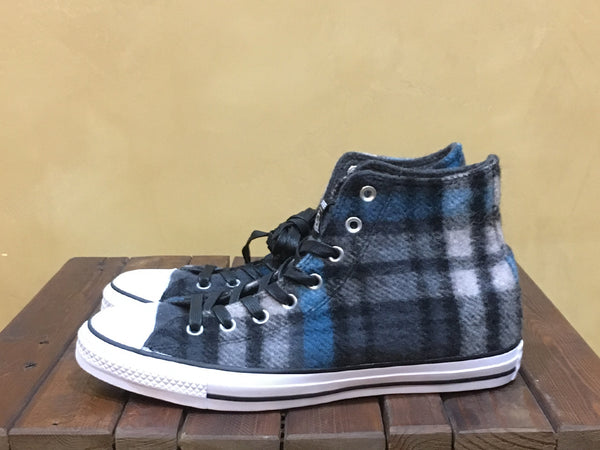 149455C Converse x Woolrich Chuck Taylor All Star Hi Black Papyrus Cyan - Stars and Stripes