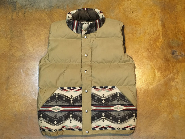 201 Crescent Down Works Italian Vest 60/40 Tan + N.Wheat + SF Nylon Brown - Stars and Stripes