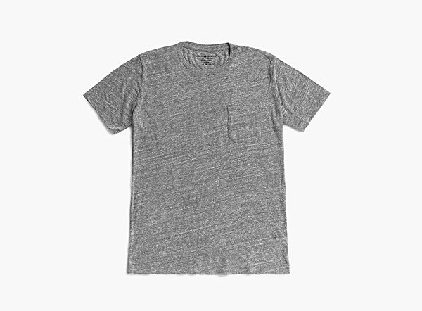 MAT-PKCR03 Richer Poorer Crew Pocket Tee Heather Grey - Stars and Stripes