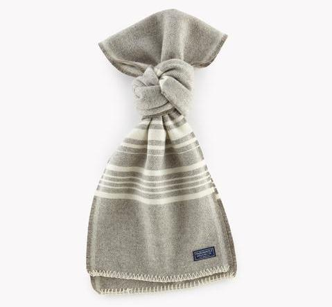 12264 Faribault Woolen Mills Weekender Stripe Wool Scarf Silver Heather/Natural