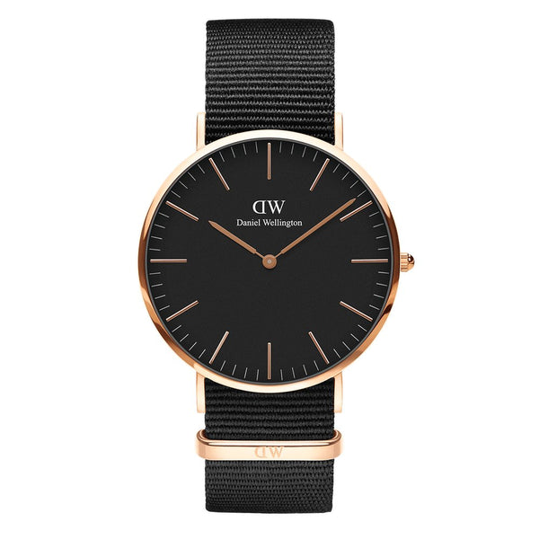 DW00100148 Daniel Wellington Classic Cornwall Black 40mm Rose Gold - Stars and Stripes