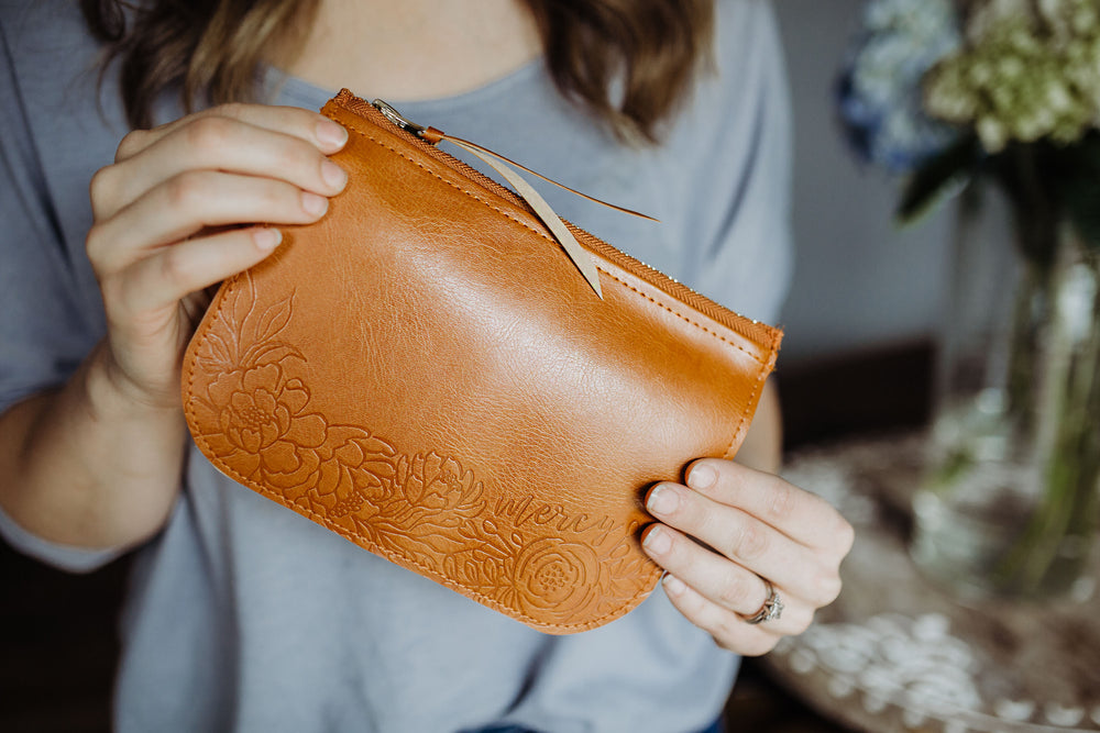 NEW! Mercy Floral Pouch | Vegan Leather