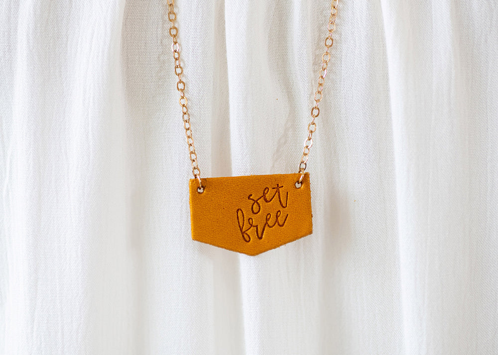 Set Free | Long Leather Pendant Necklace (50% off!)