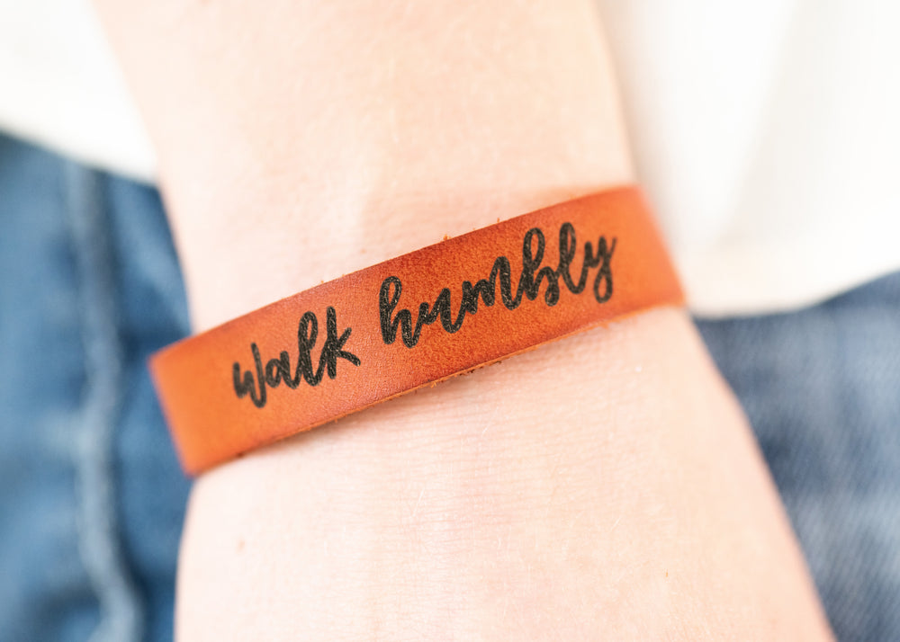 Walk Humbly Bracelet | Genuine Leather