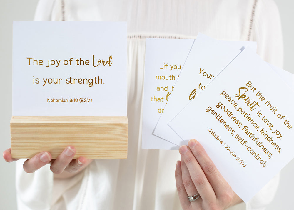Premium Set | Bible Verse Cards & Display Block