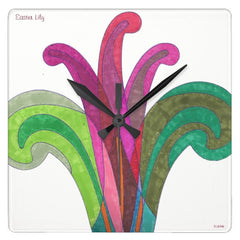 Easter Lily square wall clock