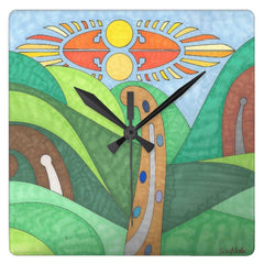 Off the beaten path square wall clock