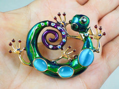 Blue Ceramic Gecko Brooch