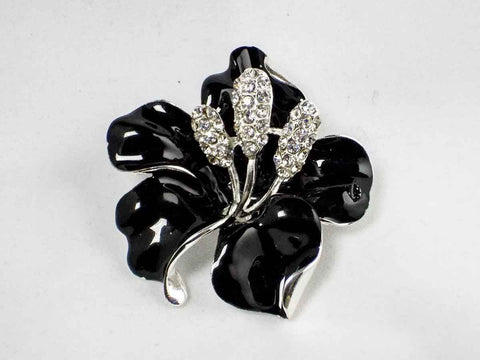Black Enamel Floral Brooch-Pin-Sara's Super Stock-Default Title-Sara's Super Stock