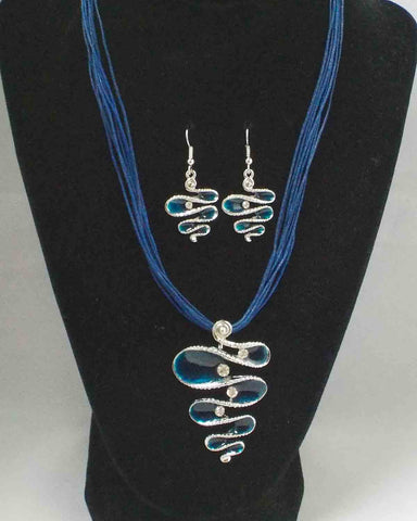 Blue FreeForm Pendant Set