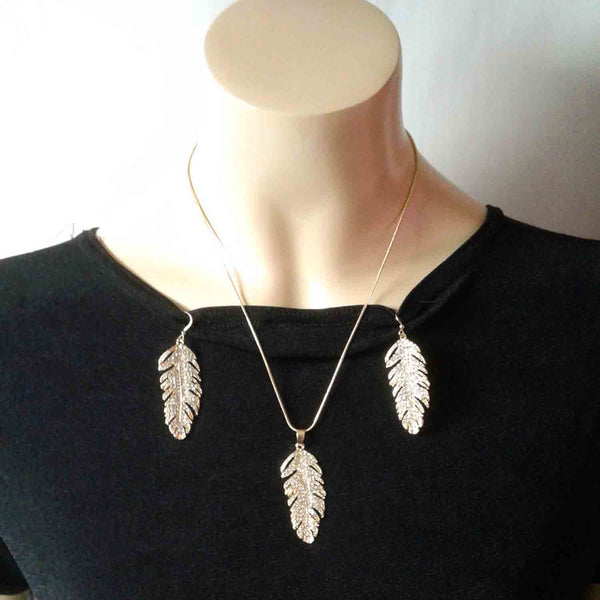 Crystal Feather Jewelry Set