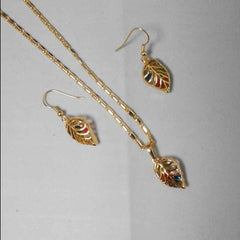 Gold Plated Leaf Necklace Set