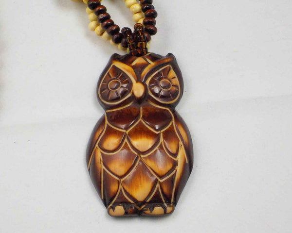 Bohemian-Style Wooden Owl Sweater Pendant