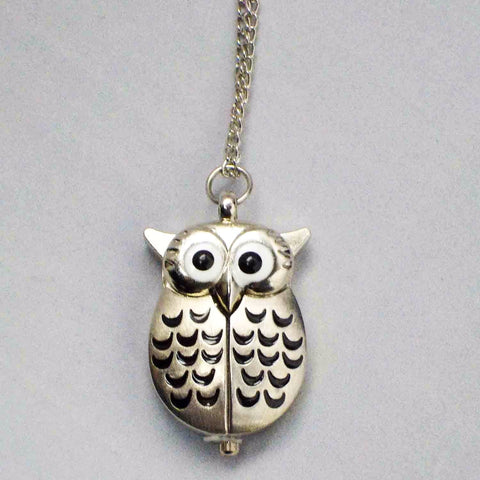 Silver Owl Pocketwatch Pendant