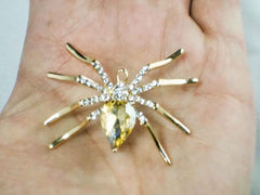 Champagne Rhinestone Spider Brooch-Pin-Sara's Super Stock-Default Title-Sara's Super Stock