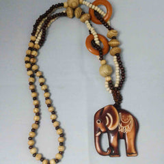 Bohemian-Style Wooden Elephant Sweater Necklace