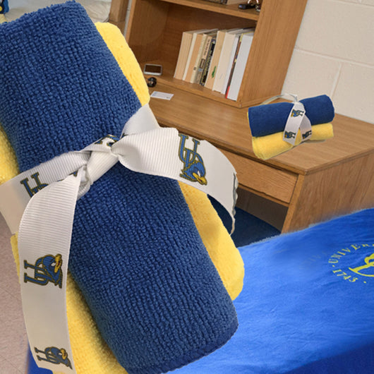 University of Delaware Microfiber Towels, Set of 3, Blue and Yellow-The Cleaning Girl 2
