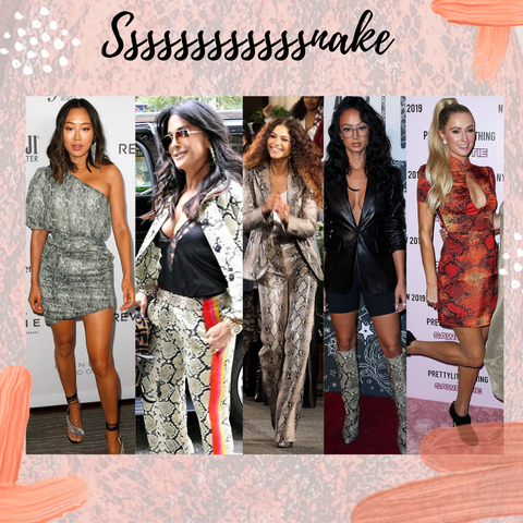 aimee song, kyle richards, zendaya, draya michele, paris hilton, snake print