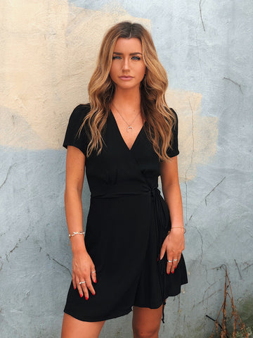black t-sleeve dress