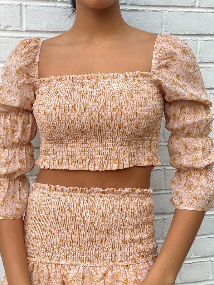 Long Puff Sleeve Smocked Crop Top
