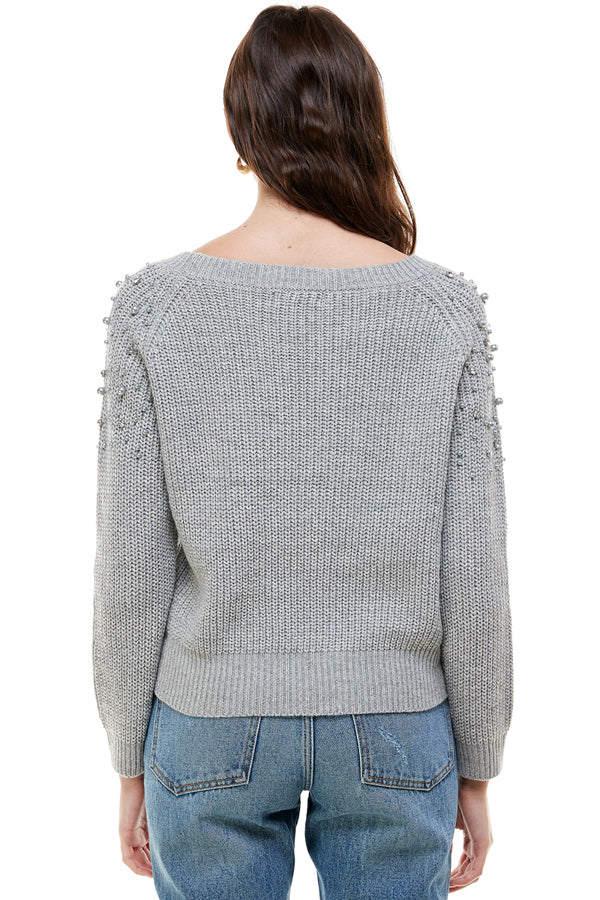 Long Sleeve Pearl Shoulder Trim Sweater