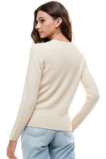 pearl cable knit crew neck sweater