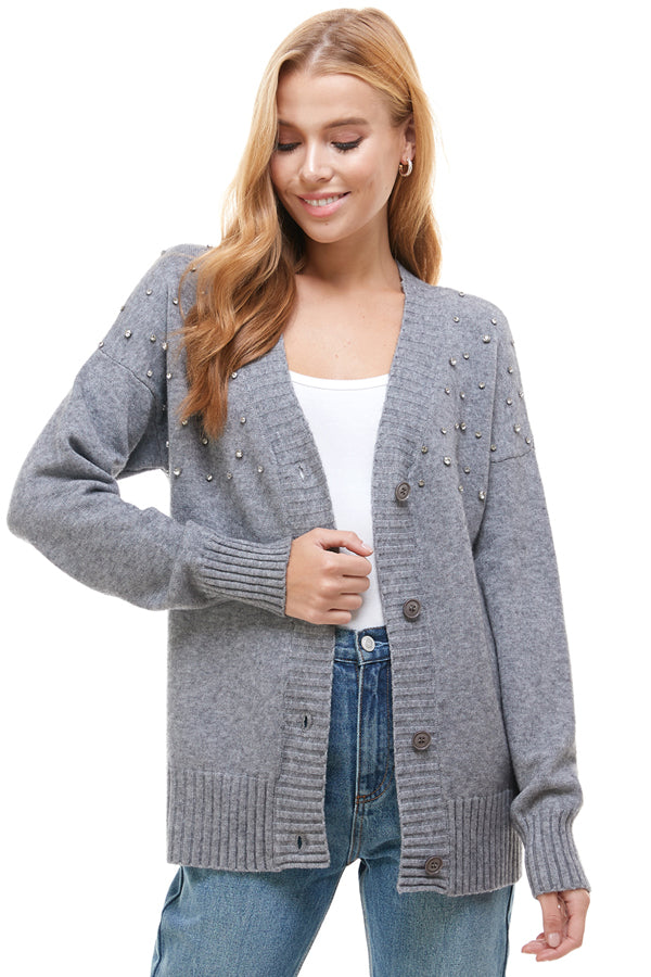 Button Down Cardigan With Fine Stones