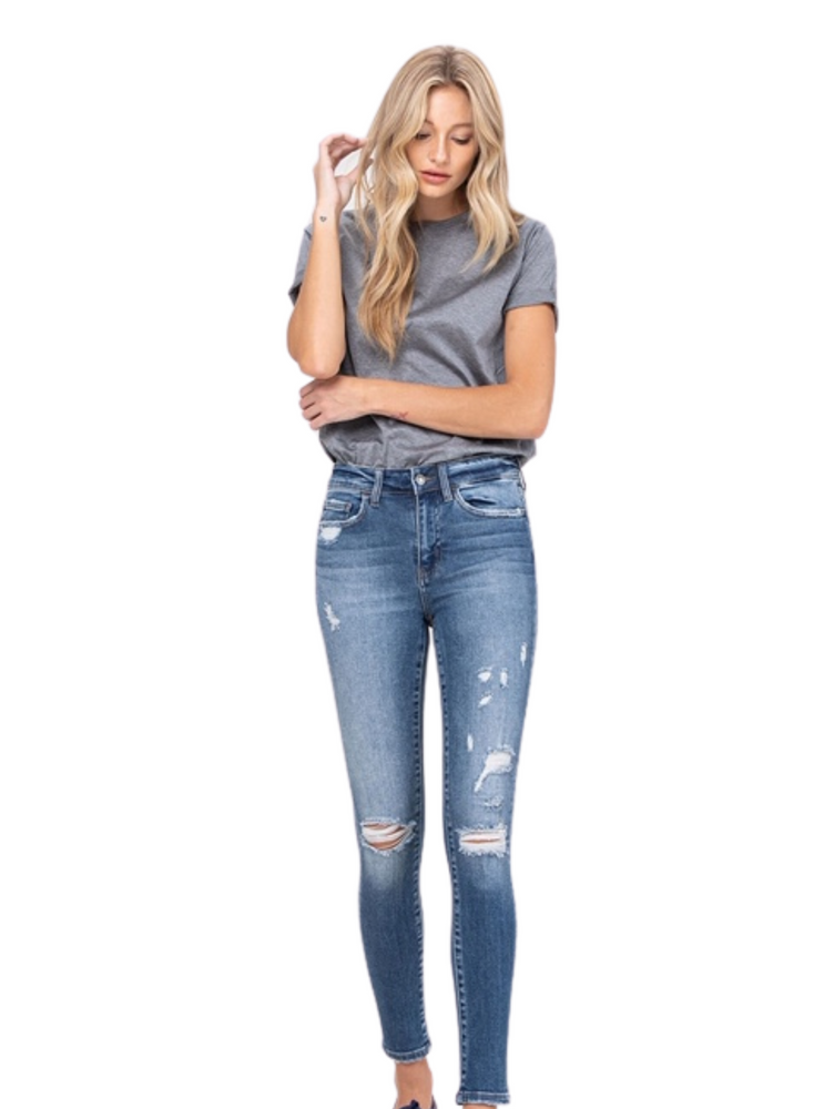 Mid Rise Distressed Crop Skinny