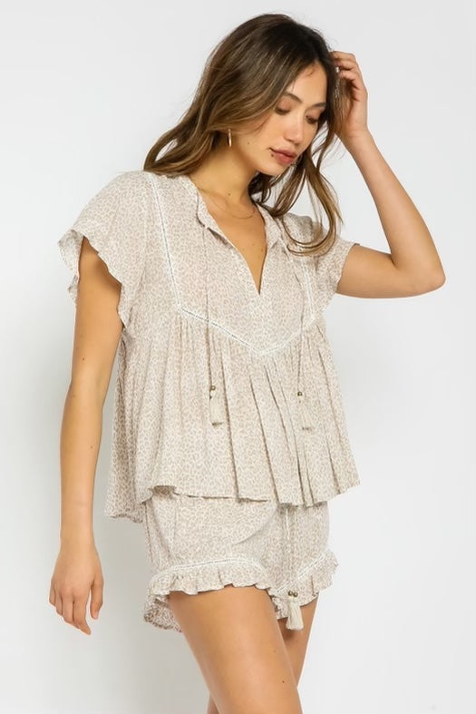 Cheetah Flutter Short Sleeve Tassel Top