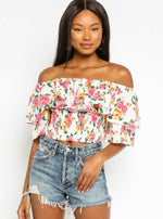 Floral Off Shoulder Smocked Ruffle Top