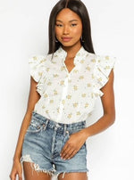 Floral Ruffle Short Sleeve Top