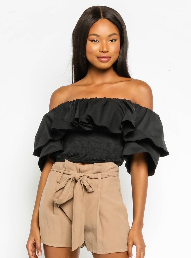 Off Shoulder Smocked Shirt With Ruffle Top