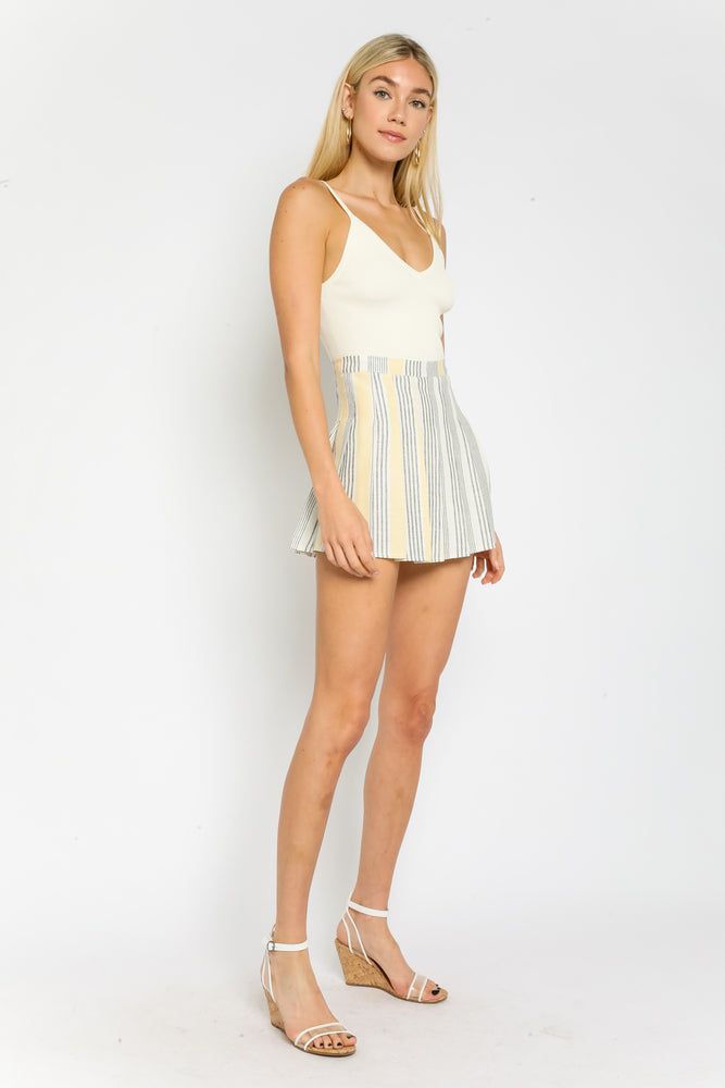 Stripe Pleated Tennis Skirt